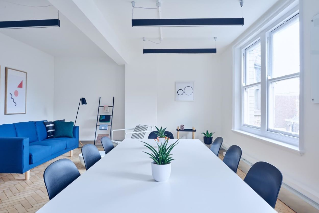 web design office with blue furniture